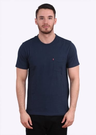 Short Sleeve Sunset Pocket Tee - Dress Blue
