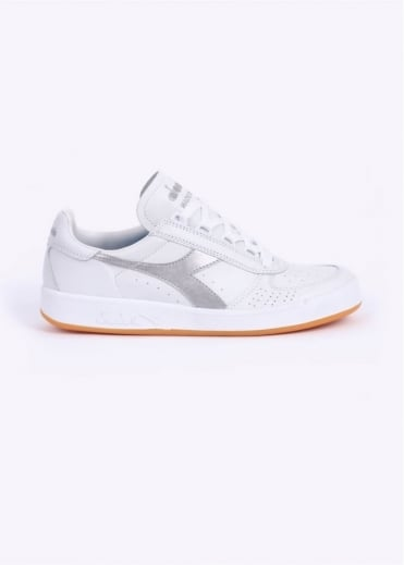 Diadora B. Elite 'Made In Italy' Calf Leather Trainers - White / Silver