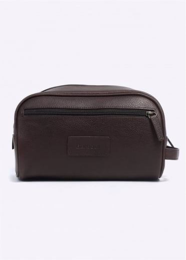 Barbour Leather Washbag - Brown Durang