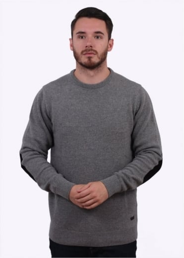 Patch Crew Sweater - Grey