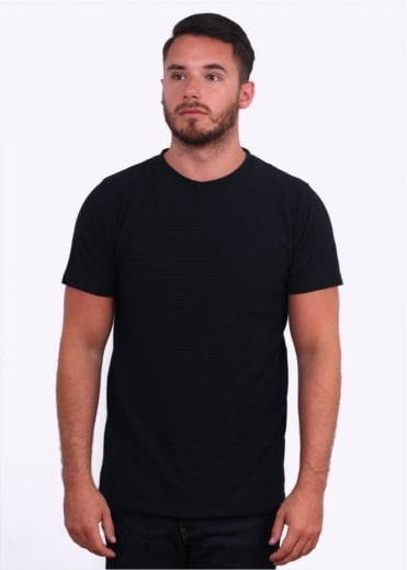 Niels Cotton Linen Stripe T-Shirt - Black