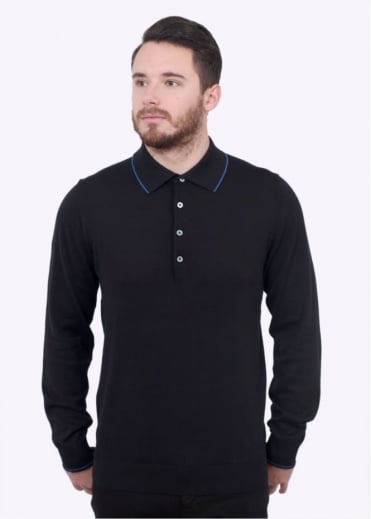 Paul Smith Pullover LS Polo Shirt - Black
