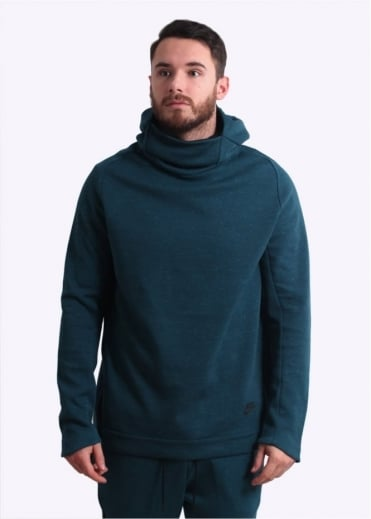 Tech Funnel Neck Hoodie - Midnight Turquoise