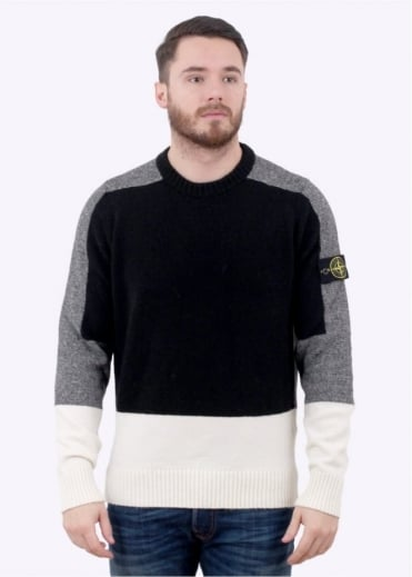 Stone Island Knit Jumper - Black / Grey / Natural