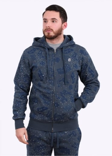 Galaxy All-Over Print Hood - Blue