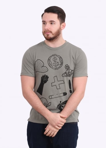 Vivienne Westwood Mens Anglomania Classic T-SH Logo Mix - Military Green