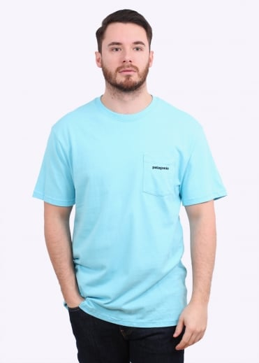 Patagonia P-6 Logo Pocket Tee - Cuban Blue