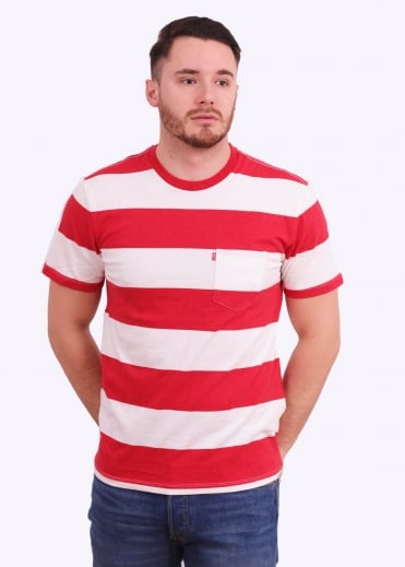 Levi's Red Tab SS Pocket Awning Stripe Tee - Cherry Bomb