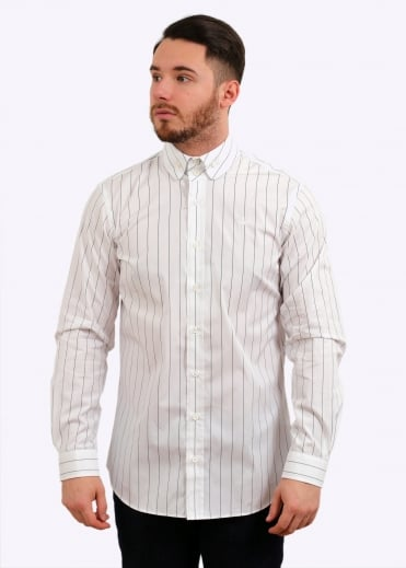 Krall 2 Button Stripe Shirt - White
