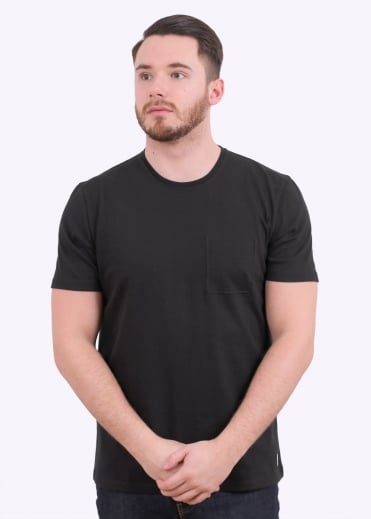 Folk Deboss Pocket Tee - Black