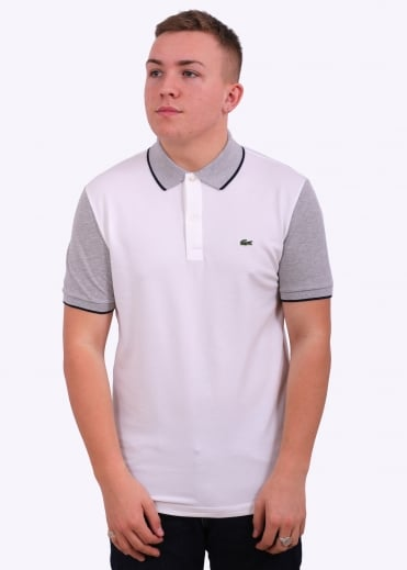 Lacoste Contrast Sleeve Polo - White / Silver