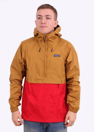 Patagonia M's Torrentshell Pullover - Oaks Brown / Fire Red