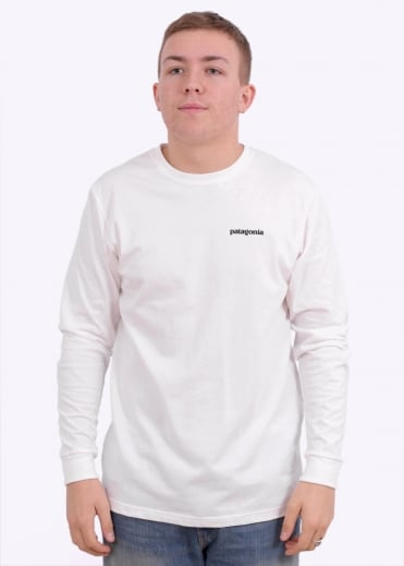 Patagonia LS P-6 Logo Cotton T-Shirt - White