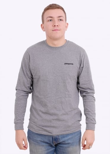 Patagonia LS P-6 Logo Cotton T-Shirt - Gravel