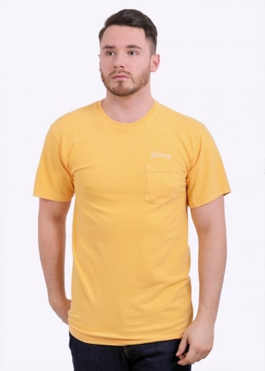 Stitch Pig Dyed Pocket Tee - Faded Yellow
