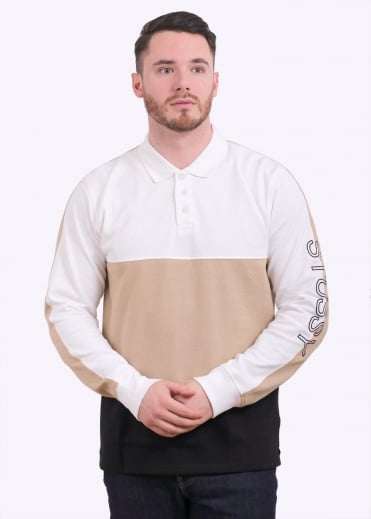 L/S Panel Pique Polo - White
