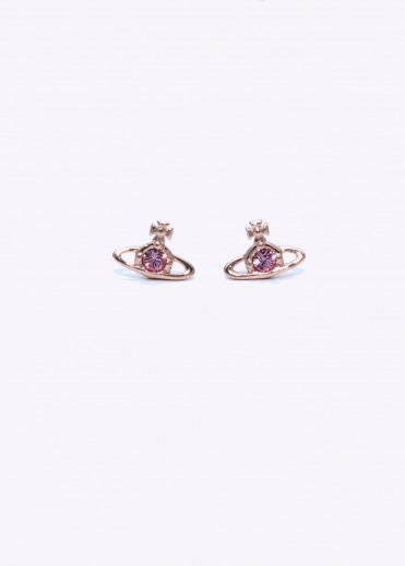 Nano Solitaire Earrings - Pink Gold