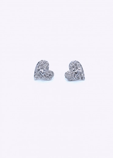 Vivienne Westwood Jewellery Tiny Diamante Heart Studs - Rhodium