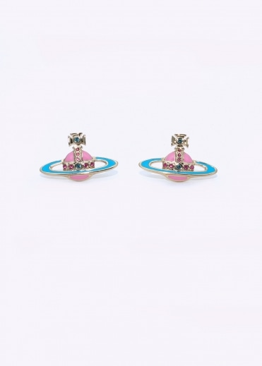 Small Neo Bas Relief Earrings - Pink / Blue