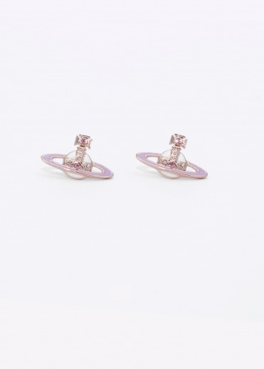 Small Neo Bas Relief Earrings - Pink / Gold