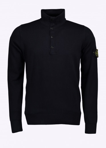 Stone Island Button Up Sweatshirt - Navy Blue