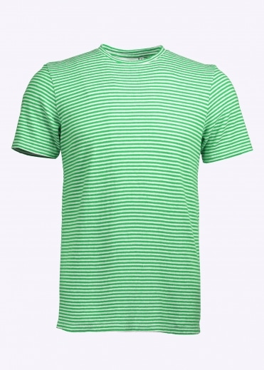 Yarn Dyed SS Stripe Tee - Parakeet Green