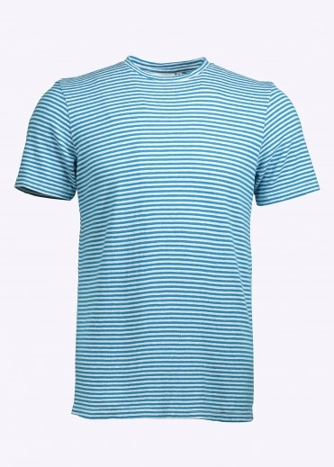 Yarn Dyed SS Stripe Tee - Aegean Sea Blue