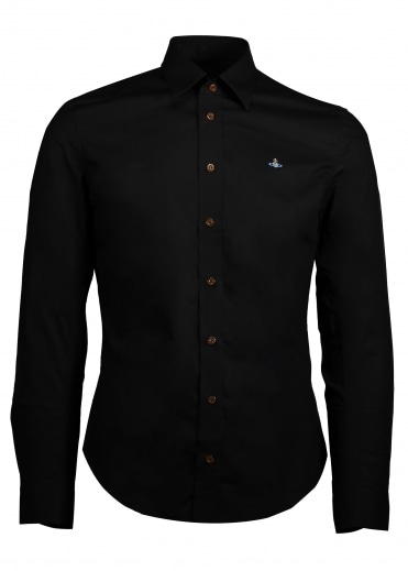 Embroidered Logo Shirt - Black