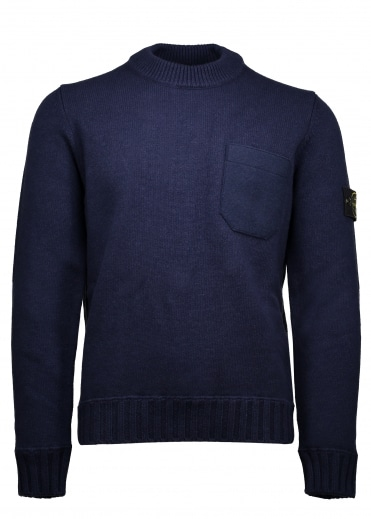 Lambswool Crew Sweater - Blue Marine