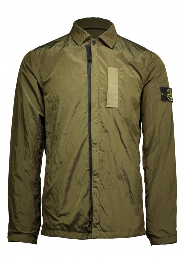 Nylon Metal Zip Overshirt - Sage