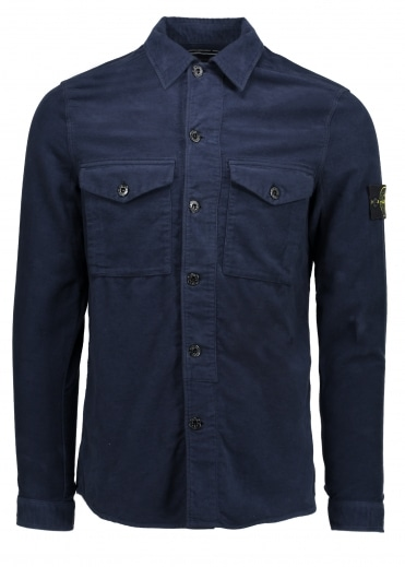 Stone Island Button Overshirt - Blue Marine