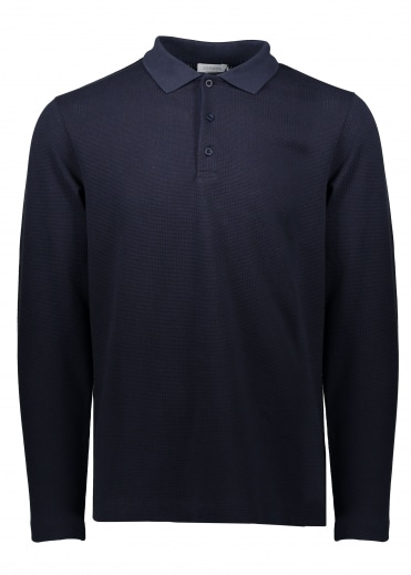 LS Textured Polo - Navy