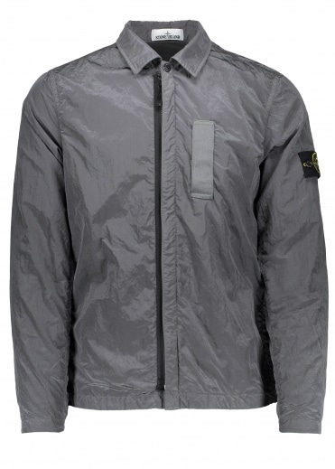 Nylon Metal Zip Overshirt - Grey