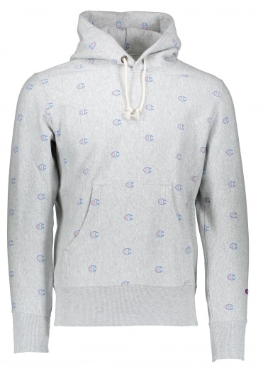 All Over Logo Hoody - Light Grey