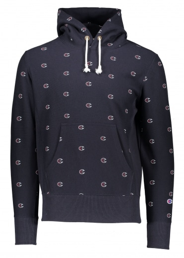 All Over Logo Hoody - Navy