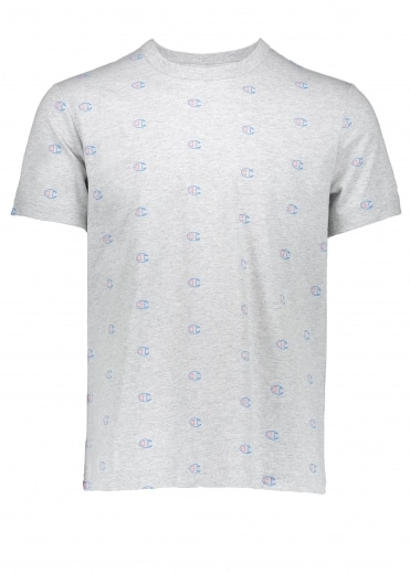 All Over Logo Tee - Light Grey