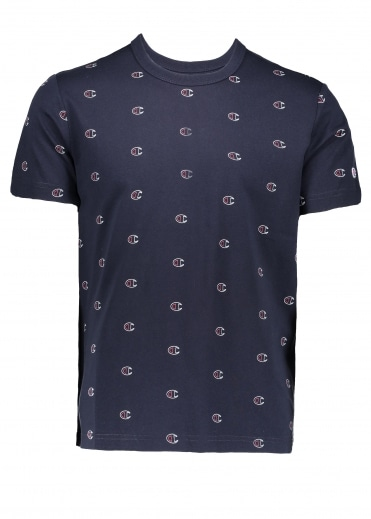 All Over Logo Tee - Navy