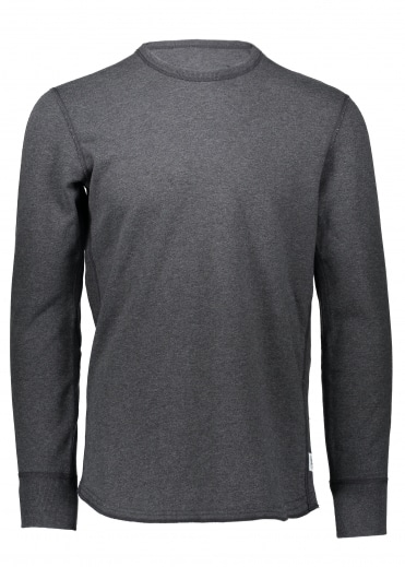 Terry Scalloped Crewneck - Charcoal