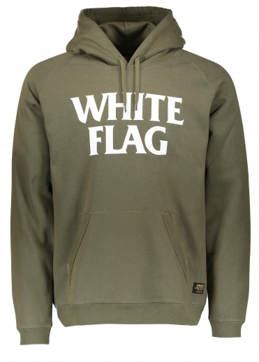 Hooded White Flag Sweat - Rover Green