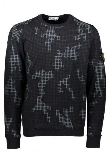 Grid Camo Sweat - Black
