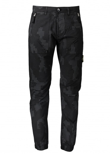 Grid Check Camo Pant - Black