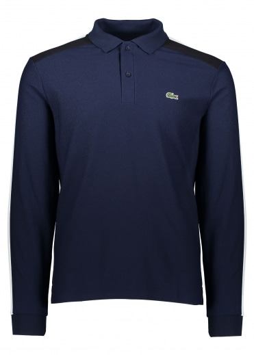 LS Trim Polo - Navy / Flour/ Black