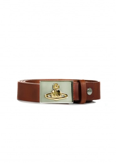 Square Buckle Belt - Gold Brown