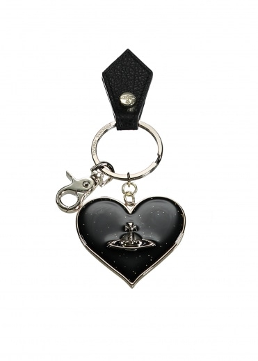 Mirror Heart Keyring - Black