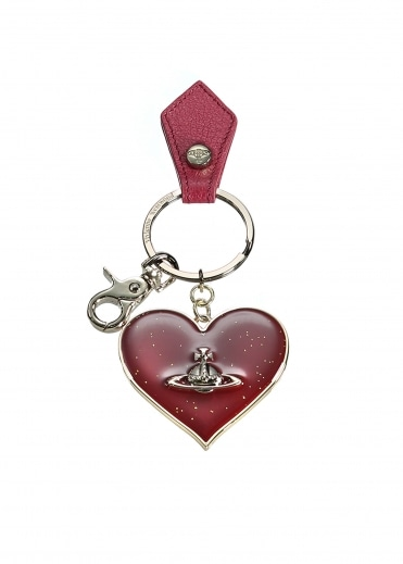 Mirror Heart Keyring - Red