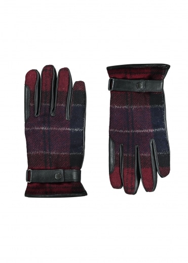 Newbrough Tartan Glove - Navy / Merlot