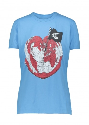Anglomania Heart World Print Tee - Baby Blue