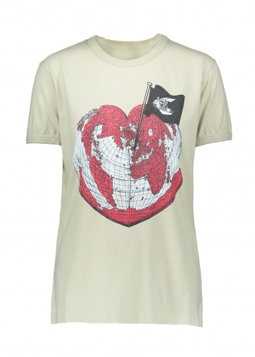 Anglomania Heart World Print Tee - Ocra