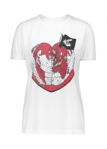 Anglomania Heart World Print Tee - White