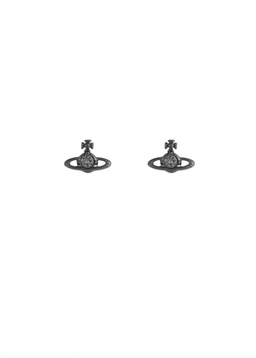 Nano Solitaire Earrings - Gunmetal